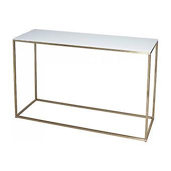 Gillmore valkoinen lasi ja kultametalli nykyaikainen konsolipöytä