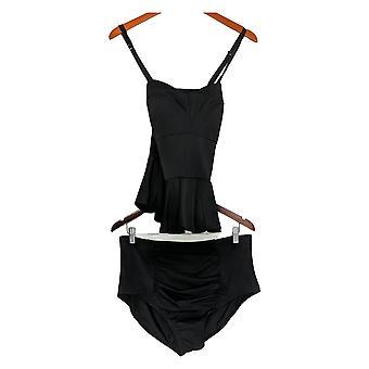 G.I.L.I. got it love it Swimsuit W/ High-Waist Bottom Black A350372