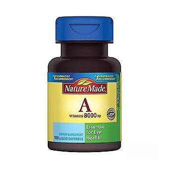 Nature made vitamin a, 8000 iu, liquid softgels, 100 ea