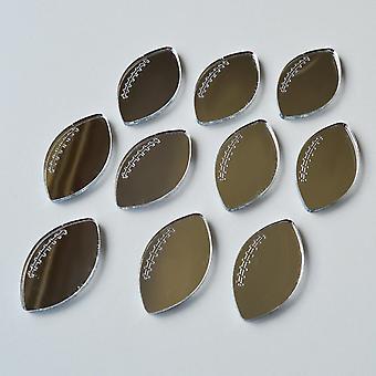 Rugby Ball Mini Craft Sized Acrylic Mirrors (10Pk)