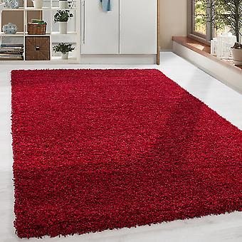 Shaggy High Flor LongFlor Tapijt Soft Living Room Rug Kleur Rood Solide Kleur
