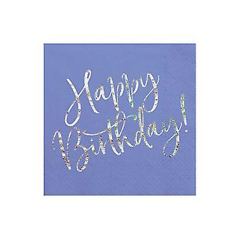 Blue Iridescent Happy Birthday Paper Party Napkins x 20