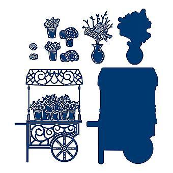 Tattered Lace Vintage Flower Cart Die Set