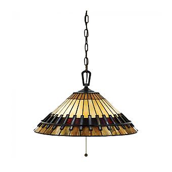 Chastain Pendant Light, Vintage Bronze And Tiffany Glass