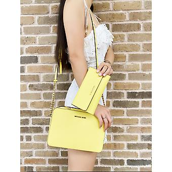 Michael kors jet set east west large crossbody sunshine yellow + trifold wallet