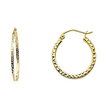 14k Yellow Gold Full Sparkle Cut Hollow Square Tube Hoop Earrings 19x19mm Jewelry Gifts for Women