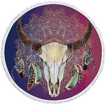 Purple Blue Bull Skull Beach håndkle