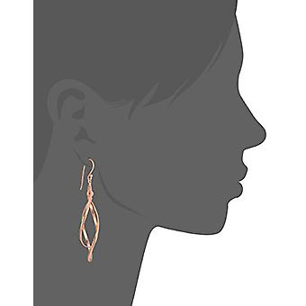 Rose Gold Plated Sterling Silver Double Elongated Oval Twist, Rose, Size No Size