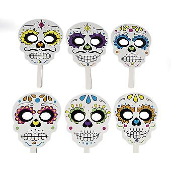6 Ready Made Day of the Dead Photo Booth Props for Halloween