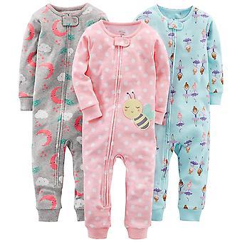 Simple Joys van Carter's Baby Girls' 3-Pack Snug Fit Footless Cotton Pyjama's, Ballerina/Moon/Bee, 12 maanden