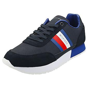Tommy Hilfiger Corporate Mix Flag Runner Mens Fashion Trainers in Desert Sky
