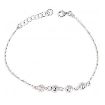 Zilveren armband Rhodié Diamond Ballen met kubieke Zirconia 18cm