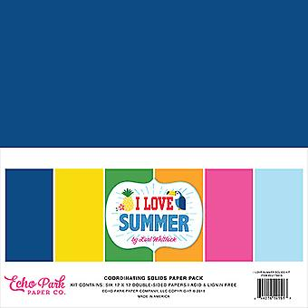 Echo Park I Love Summer 12x12 Inch Coordinating Solids Paper Pack