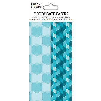 Simply Creative FSC Decoupage Paper - Aqua Geometric