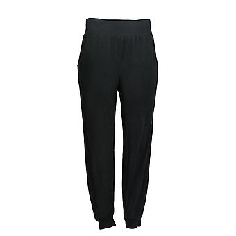 Anybody Women's Pants Regular Cozy Knit Ribbed Joggers Black A365604