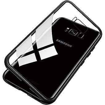 Mobiele behuizing in dubbelzijdig gehard glas voor Samsung Galaxy S8 - zwart