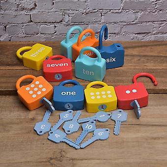 Plástico Montessori Cerraduras Establecer Números Cognitivos Locking Preescolar, Aprendizaje