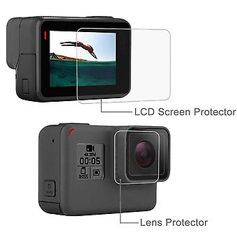 Tempered Glass Protector Cover Case For Go Pro Hero 5/6/7, Camera Lens Cap Lcd
