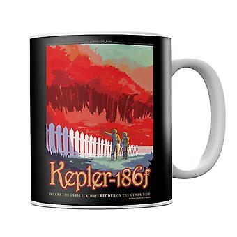 Taza de cartel de viaje interplanetario Kelper 186f de la NASA