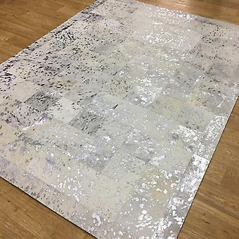 Rugs -Patchwork Leather Cubed Cowhide - White & Silver Acid