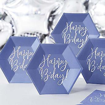 Blue Hexagon Happy B'day Paper Plates x 6 Birthday Party Tableware