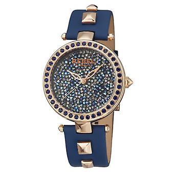 Rebel Women-apos;s RB101-8041 Rockaway Parkway Rose-Gold IP Steel Blue Leather Watch