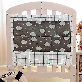 Grey Cotton Baby Bed Hanging Storage Bag, Newborn Crib Diaper Organizer