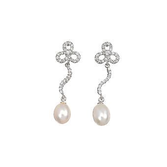 Sølv øredobber, zirkoniumoksider og hvite kultiverte perler - perler;