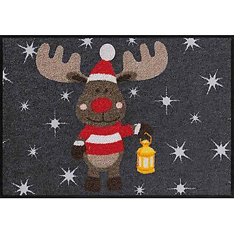Salonloewe wycieraczka zmywalna motyw antracytowy łoś Rudi szary brud łapanie maty 50x75 cm Boże Narodzenie