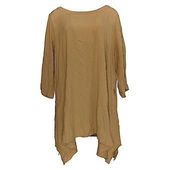 Linea by Louis Dell'Olio Women's Petite Top Scoop Neck Tunic Brown A311557