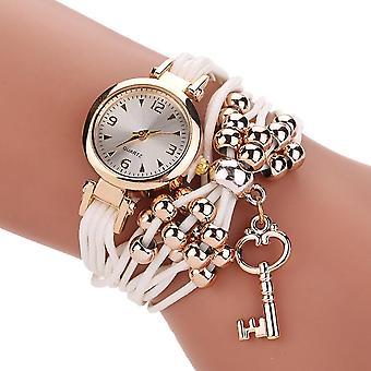 Gold Case Colorful Leather Beading Strap Ladies Dress women Bracelet Wristband