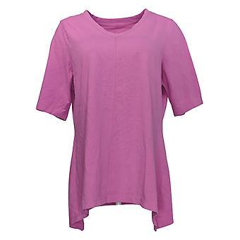 Denim & Co. Kvinder & apos;s Top Perfect Jersey V-Neck Trapeze Hem Pink A254299