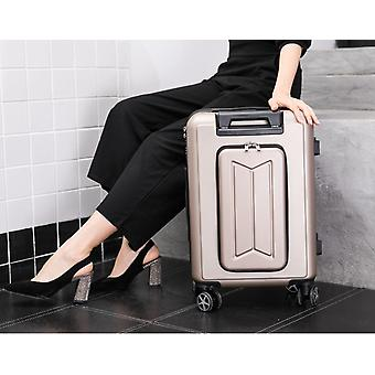 Travel Suitcase Front Pocket Rolling Luggage Trolley Password Box Boarding Men