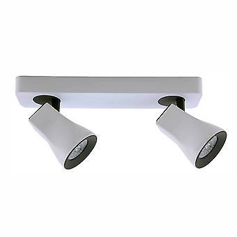Italux Valentina - moderne Strahler weiß, grau 2 Licht mit Sandy White, Sand Grey Shade LED, GU10