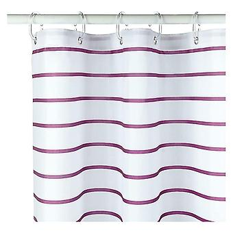 Croydex Plum Pinstripe Textile Shower Curtain with Hygiene 'N' Clean