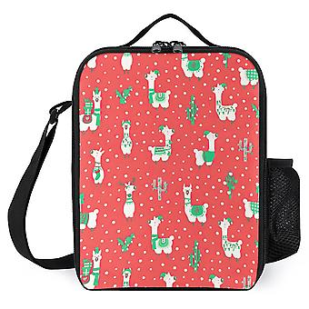 Christmas Llama Printed Lunch Bags Kids Insulated Lunch Cooler Box
