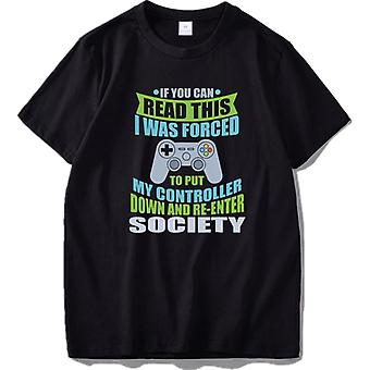 Put Controller Down Re-Enter Society Funny Gamer T Shirt