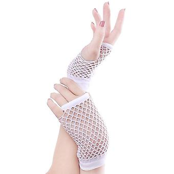 Fishnet Mittens Cute Punk Lady Disco Dance Costume Lace Unha Luvas de Malha Sem Dedos