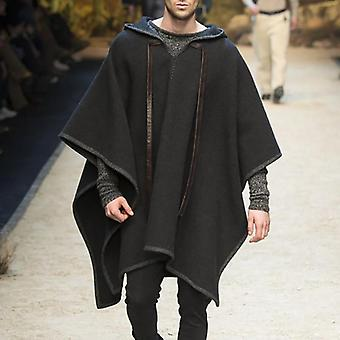 الرجال عباءة المعاطف مقنعين كيب Streetwear بونشو الخامس الرقبة فضفاضة معطف