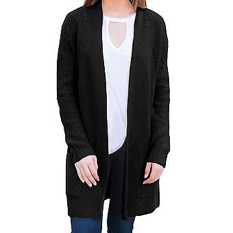 Cardigan donna open front con tasche