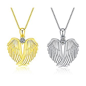 Angel winged heart necklace