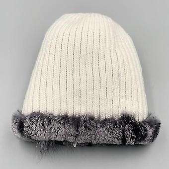 Femmes Natural Rabbit Fur Flower Fluffy Fox Stylish Warm Knitted Caps (mix-01)