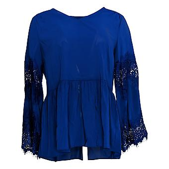 Du Jour Mujeres's Top V Cuello Peplum TejidoW/ Encaje Bell Sleeve Azul A345234