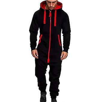 1 Piece Fleece Men Jumpsuit Spring Patchwork Zipper Overalls Fashion Sports