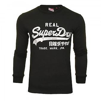 Superdry VL Tamponamento LS T-Shirt Nero 02A