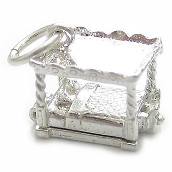 Four Poster Bed Sterling Silver Charm .925 X 1 Bedden Bedels - 4775