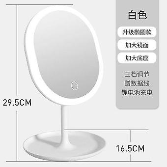 Mirror with light led makeup mirror with light desktop net red female fill light with small mirror dormitory desktop folding