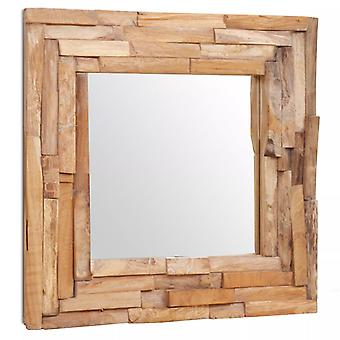 Decoratieve spiegel teak 60x60 cm vierkant