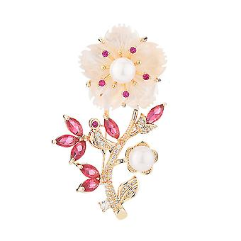 Lovely Brooch Pin Shell Flower Corsage Imitation Pearl Ladies Brooch