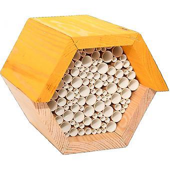 casa de abejas 14,6 x 14,8 cm de madera natural/amarilla
